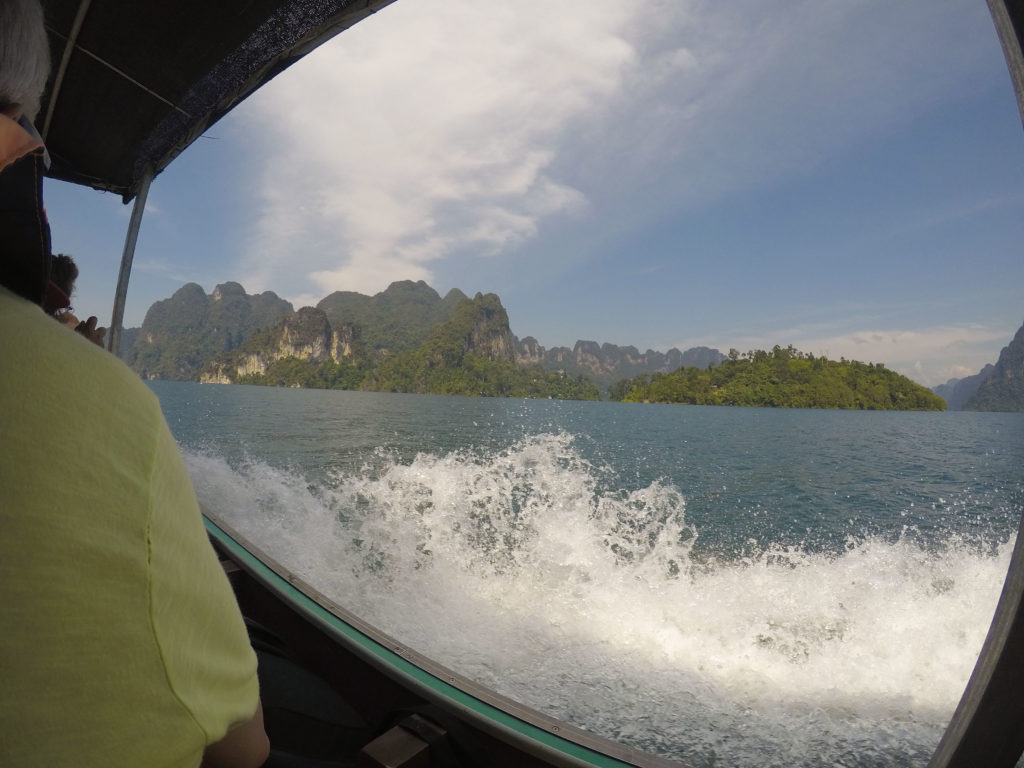 Limestone cliffs Cheow Larn Lake, Khao-Sok