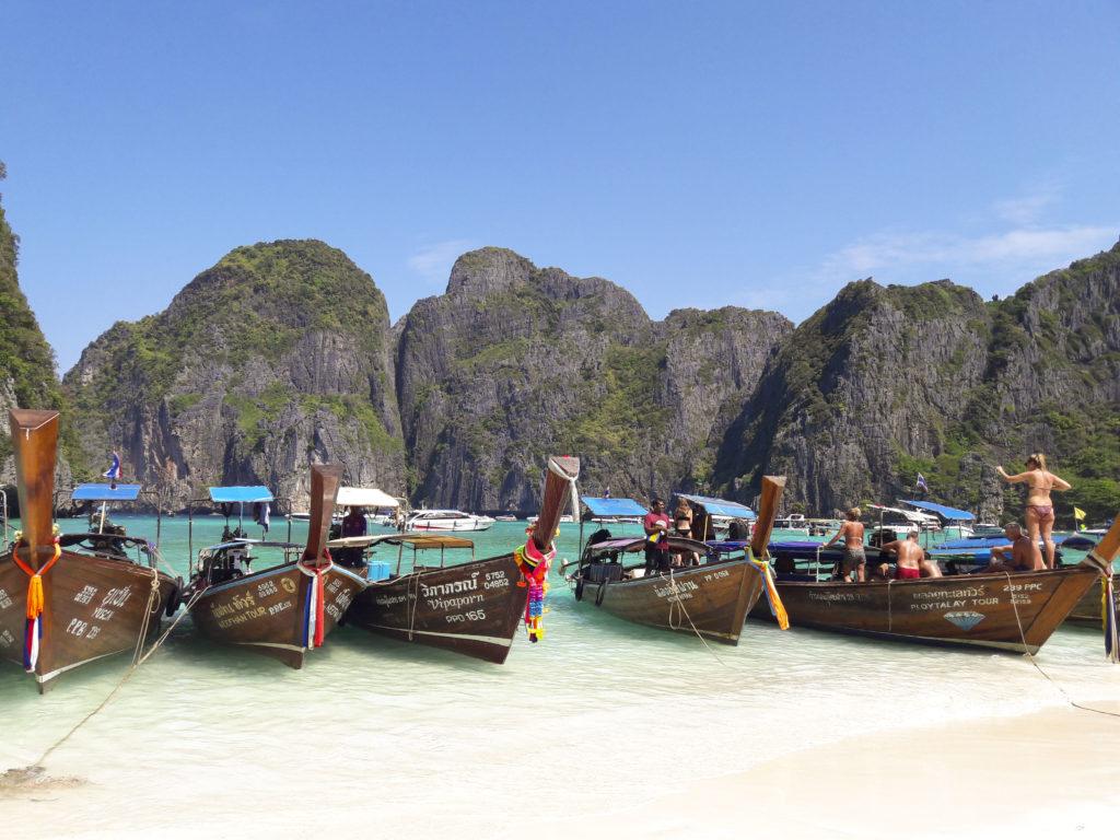 Maya Bay and the long tail boats, Ko Phi Phi Leh